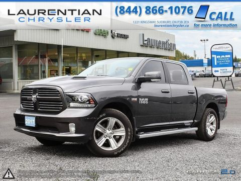 Pre-Owned 2017 Ram 1500 SPORT- NAVIGATION! LEATHER! SUNROOF! BACKUP CAM!! 4WD