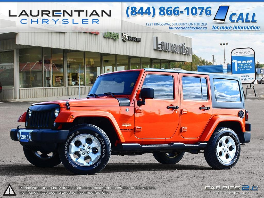 Pre Owned 2015 Jeep Wrangler Unlimited Sahara SUNSET ORANGE!! 6 SPEED  STANDARD